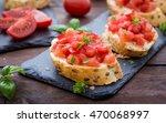 bruschetta with tomato and... | Shutterstock . vector #470068997
