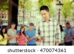 young man using smart phone... | Shutterstock . vector #470074361