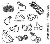 set of fruit doodle background   Shutterstock .eps vector #470079101