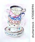 Tea Cups Watercolor Illustration