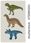 picture with three dinosaurs. | Shutterstock .eps vector #470084201