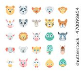 birds and animals faces colored ... | Shutterstock .eps vector #470093654