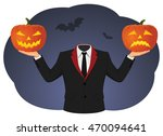 headless man is holding two... | Shutterstock .eps vector #470094641
