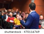 speaker giving a talk on... | Shutterstock . vector #470116769