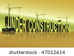 tower cranes constructing 3D word under construction - stock photo