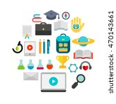 education icon set. school... | Shutterstock .eps vector #470143661