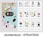 calendar 2017 with cute quirky...   Shutterstock .eps vector #470147024