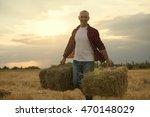 portrait of farmer and harvest. ...   Shutterstock . vector #470148029