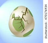 crackes green egg. | Shutterstock .eps vector #470176934
