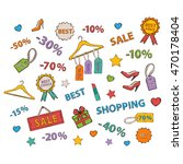 shopping icon set.scrapbook set.... | Shutterstock . vector #470178404