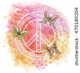 peace hippie symbol over... | Shutterstock .eps vector #470180204