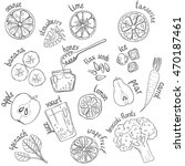 set of fresh hand drawn fruits... | Shutterstock .eps vector #470187461