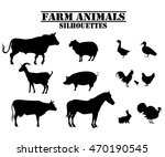 vector farm animals silhouettes ... | Shutterstock .eps vector #470190545