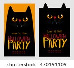 Stock vector halloween party poster card or flyer with black cat 470191109