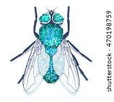 light blue vector blow fly  | Shutterstock .eps vector #470198759