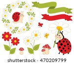 Vector Summer Set With Ladybug...