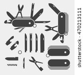 swiss folding knives to take... | Shutterstock .eps vector #470213111