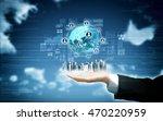 a businessman  show a concept...   Shutterstock . vector #470220959