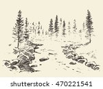 hand drawn landscape with river ...   Shutterstock .eps vector #470221541