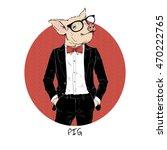 pig dressed up in tuxedo ...   Shutterstock .eps vector #470222765
