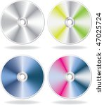 silver cd  dvd disks set.... | Shutterstock .eps vector #47025724