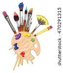 Artist Brushes And Wood Palett...