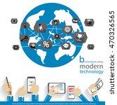 vector businessman using modern ... | Shutterstock .eps vector #470326565