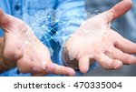 businessman holding global... | Shutterstock . vector #470335004