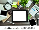 business objects on a table | Shutterstock . vector #470344385