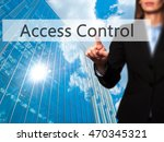 Small photo of Access Control - Isolated female hand touching or pointing to button. Business and future technology concept. Stock Photo