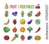 fruit and vegetables hand drawn ... | Shutterstock .eps vector #470349227