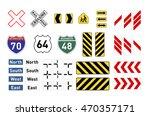 set of different warning road... | Shutterstock . vector #470357171