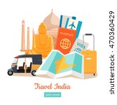 travel india poster in flat... | Shutterstock . vector #470360429