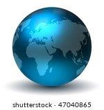 glossy blue earth globe | Shutterstock .eps vector #47040865