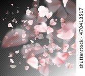 bright cherry petals fall down. ... | Shutterstock .eps vector #470413517