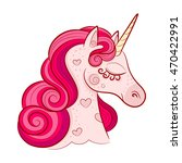 head of cute pink unicorn with... | Shutterstock .eps vector #470422991