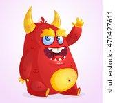 happy cartoon monster.... | Shutterstock .eps vector #470427611