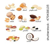 set of various nuts and seeds ... | Shutterstock .eps vector #470438135