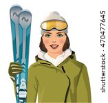 Woman With Skis In The...