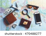 overhead view of traveler's... | Shutterstock . vector #470488277