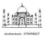 taj mahal  india hand drawn... | Shutterstock . vector #470498027