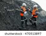 workers with coal at open pit | Shutterstock . vector #470513897