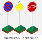 road signs  road up   the main...   Shutterstock .eps vector #470523827