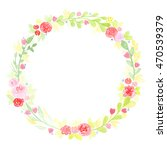 hand drawn watercolor wreath... | Shutterstock . vector #470539379