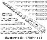 vector set with outlines trains ...
