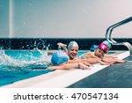swimming lesson for children ... | Shutterstock . vector #470547134