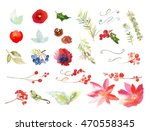 set of christmas watercolor... | Shutterstock . vector #470558345