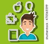 man boy book student vector... | Shutterstock .eps vector #470565599