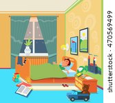 Boy Sleep In Children Room....