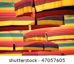 Many Colorful Sun Umbrellas On...
